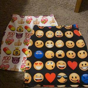 2pc one size emoji skirts